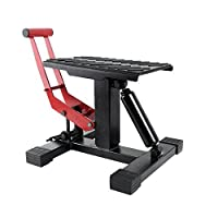 YITAMOTOR Red/Black Dirt Bike Motorcycle Motocross Maintenace Adjustable Lift Steel Stand 330 LB Load Capacity