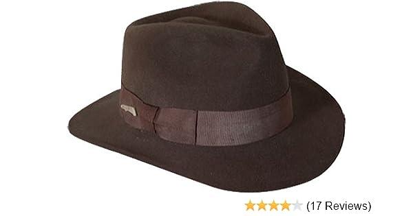 Indiana Jones Men s Crushable Wool Fedora Hat Chocolate Medium at Amazon  Men s Clothing store  811e88db0785