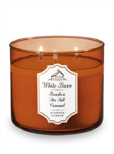 Bath and Body Works White Barn Candle 3 Wick 14.5 Ounce Bourbon Sea Salt Caramel