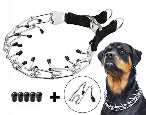 Mayerzon Dog Prong Training Collar, Stainless Steel Choke Pinch Dog Collar with Comfort Tips(Packed with One Extra Links)