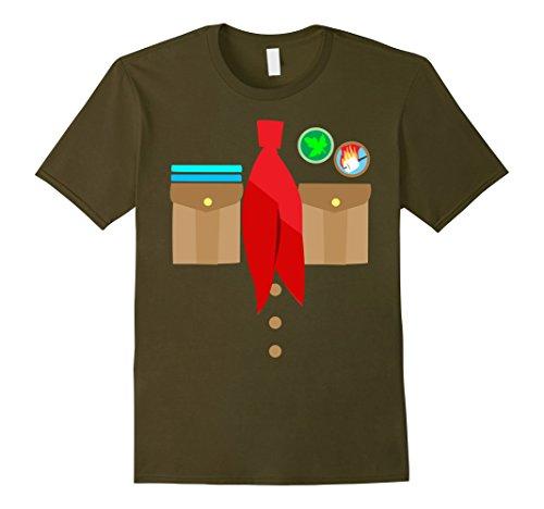 Mens Boy Scouts Uniform Costume Halloween Kids T-Shirt XL Olive