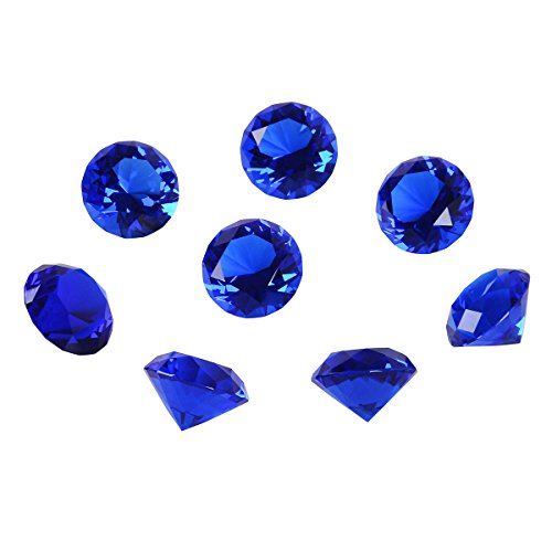(LONGWIN 30mm(1.2 inch) Crystal Diamond Paperweight Birthstone Home Decor Pack of 8 (Blue))