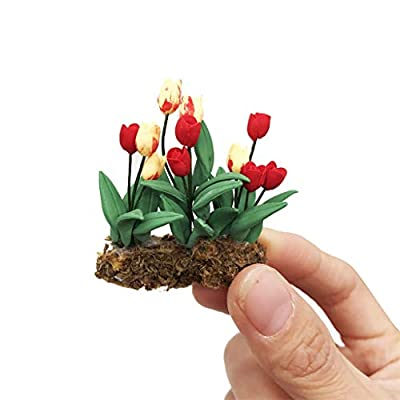 FILOL 1:12 Special Edition Green Plant Flower in Pot Dollhouse Furniture Doll House Accessories Nice Paly Things DIY Ornament Kit Decor Miniature Toy for Pre-K Boys Girls Toddlers: Toys & Games