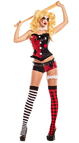 Party King Women's No Good Harlequin Costume, red/Black, X-Large