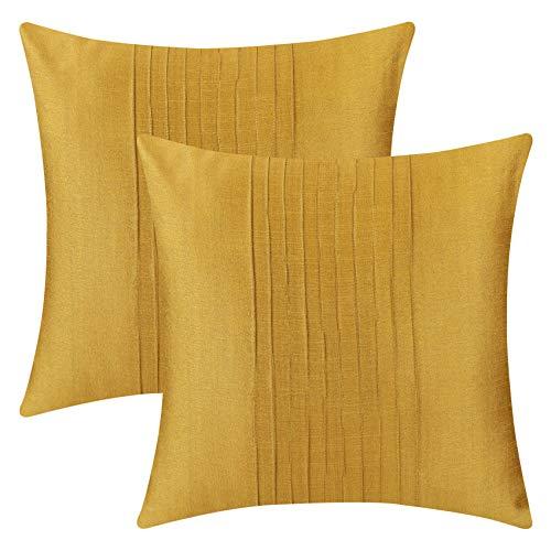 The White Petals Set of 2 Euro Sham Mustard Yellow with Pin Tucks Panel (26X26 inches, Mustard Yellow) (Tuck Bedding Pin)