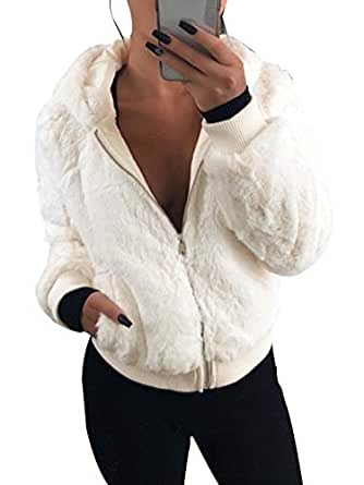 GLIENST Womens Fleece Hoodies Zip Up Fuzzy Jacket Long Sleeve Casual Fuax Fluffy Winter Coat Outwear White S