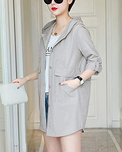 Vestes Femme Mode Vrac En Capuche Manteaux Printemps Veste Avec Gris De awARXSdq