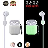 Airpods Case Airpod Accessories Protective Silicone Case for Apple Airpods Charging Case with Anti-lost Strap, Earphone Hook and Carabiner,[Night-glow green] Water-proof Shock-proof Case