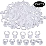 SXC 600pcs Disposable Plastic Nail Art Tattoo Glue Rings Holder Eyelash Extension Rings Adhesive Pigment Holders Finger Hand Beauty Tools (600pc)