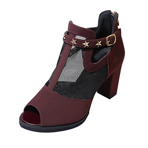 hunpta Summer Mesh Sandals Decoration Peep Toe Shoes Women Mid HeelFish Mouth Sandals Wine a9kNQK30
