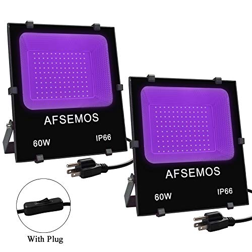 60W UV LED Black Light Flood Light with Plug,AFSEMOS(2 Pack) IP66 Waterproof UV Lamp for Neon Parties,Disco Lights,Body Paint,Curing,Glow in The Dark