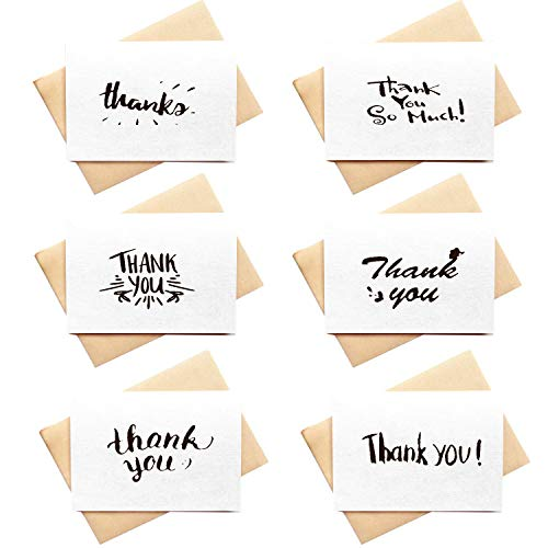 4 x 6 Hand Lettered Thank You Cards Set - 36 Bulk White Paper Thank You Notes, Blank Thank You Cards Hand Written Style for All Occasions or Handmade DIY, Brown Envelopes Included (White)