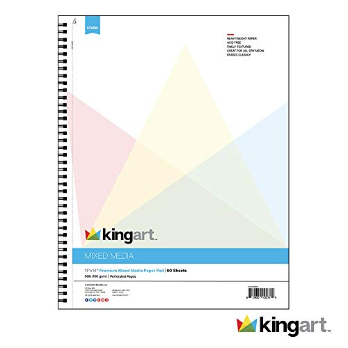 """KINGART Mixed Media Paper Pad, Heavyweight, Fine Texture, Perforated, Side Wire Bound, 98 LBS. (160G), 11"""" X 14"""", 60 Sheets"""