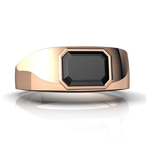 14kt Rose Gold Black Onyx 8x6mm Emerald_Cut Men's Ring - Size 7 ()