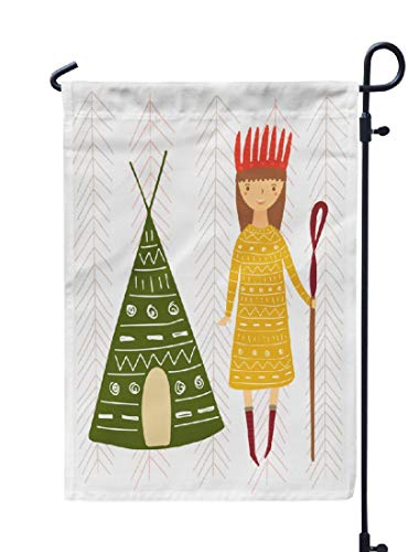 Postcard Teepee (KJONG Bohemian-Teepee Garden Flag,12x18 inch Seasonal Flag Cute Drawn Doodle Card Postcard with Girl Ethnic Clothes and Weatherproof Double Sided Outdoor Flags for Yard Patio House Decorations)