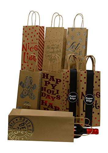 Kraft Holiday Wine Gift Bags, foil hot-Stamp Designs, 3 Packs of 6 Bottle Bags in Assorted Christmas Prints; Set of 18 Bags (Bottle Kraft)