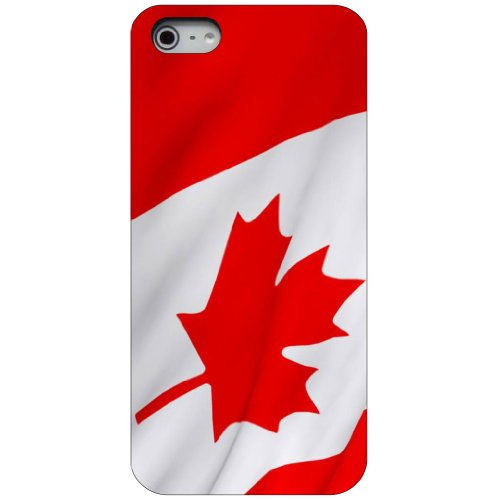 CUSTOM Black Hard Plastic Snap-On Case for Apple iPhone 5 / 5S / SE - Red White Canadian Flag Canada