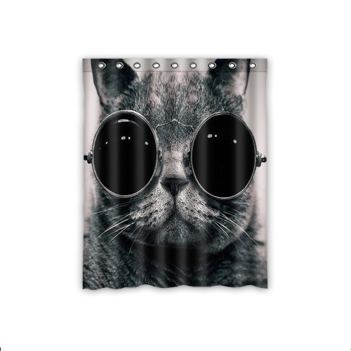 ScottShop Fashion Custom Cats Animals Glasses Sunglasses Hippie Cat Window Curtain Thermal Insulated Blackout Window Curtains Drapery/Panels/Treatment Polyester Fabric 52