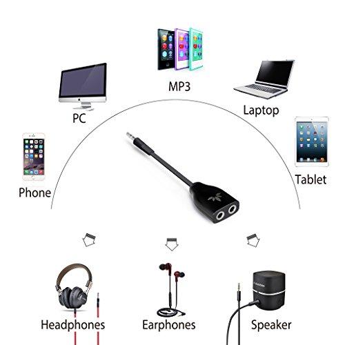 Avantree Two Way 3.5mm Dual Headphone Splitter, Earphone Earbuds Y Audio Split Adapter Cable, and -