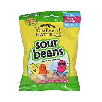 2 Packs of Yummy Earth Naturals Sour Beans - Case Of 12 - 2.5 Oz