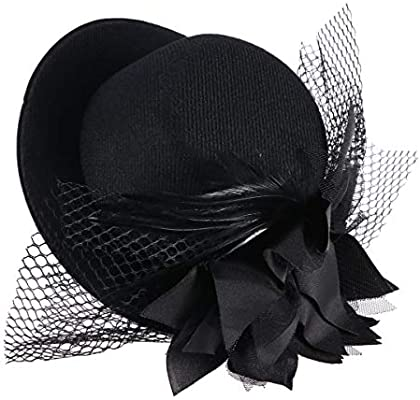 Coolr Womens Fascinator Flower Hair Clip Feather Burlesque Punk Mini Hat