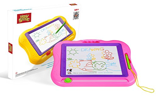Holy Stone Magnetic Drawing Board Colorful Erasable Doodle Pad Large Travel Size for Kids and Toddlers Color Pink
