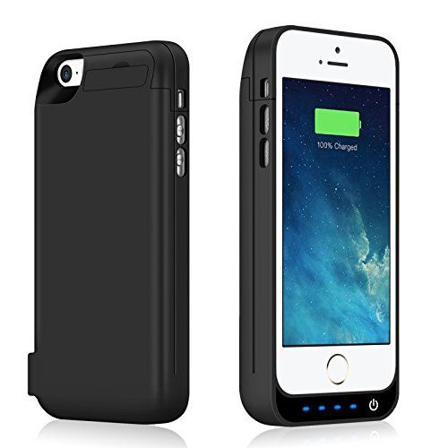 iPhone 5 5S Battery Case 4600mAh Capacity Extended Battery Power Charger for iPhone 5 5S SE 4 LED Indication Ultra Slim Portable Charging Cover - Black