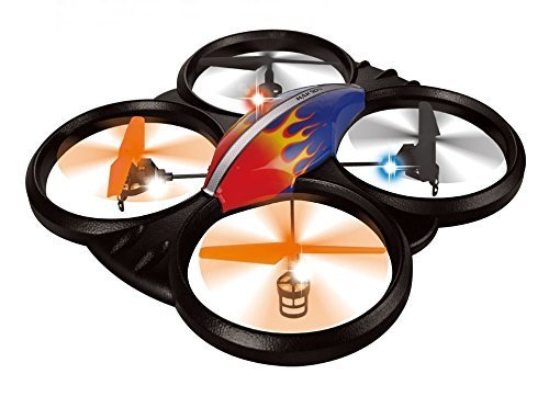 Haktoys HAK909 Large 2.4GHz 4CH RC Quadcopter, 6 Axis Gyroscope, Rechargeable, Ready To Fly, Camera-Ready and with LED Lights - Colors May Vary