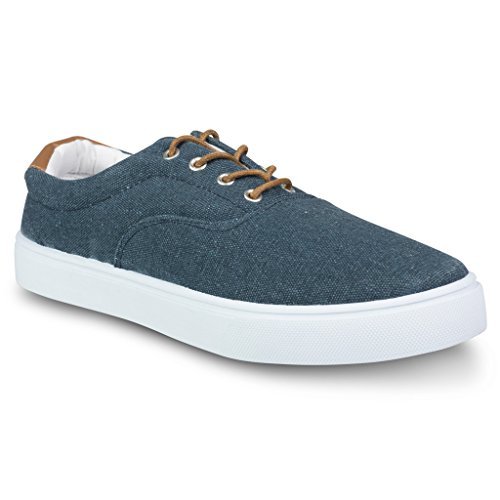 Influence Men's Nevel Canvas and Faux Leather Fashion Oxford Sneaker, Navy, Size 9 (Cheap Shoes)