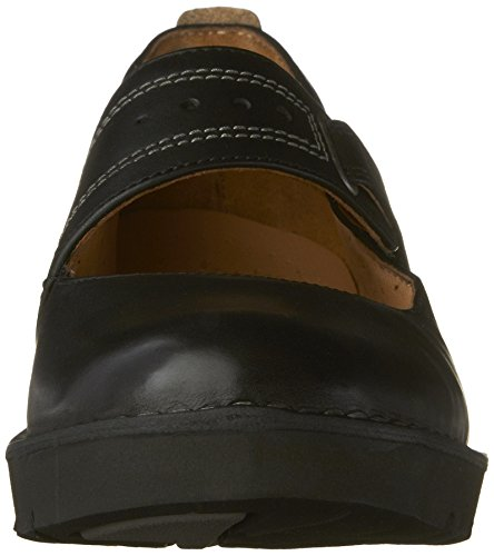 CLARKS Mujeres ONU. briarcrest Flats zapatos Cuero negro