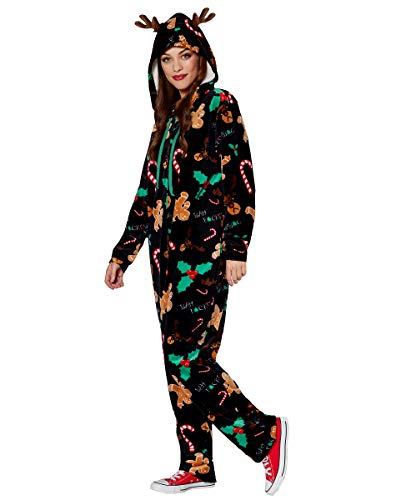 (Spencer Gifts Adult Bah Humbug Reindeer One Piece Pajamas - XL)