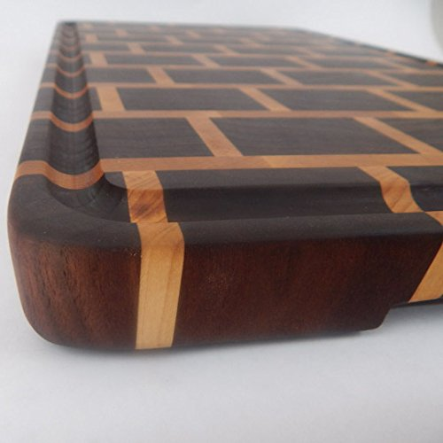 Handcrafted Wood Cutting Board - End Grain Walnut and Maple Brick Pattern