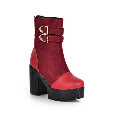 AdeeSu Ladies Chunky Heels Metal Ornament Platform Imitated Leather Boots Red