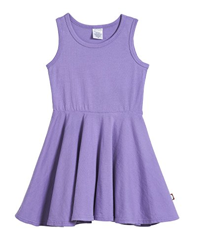 City Threads Little Girls' Cotton Party Twirly Tank Dress - Sensitive Skin and Sensory Friendly - School Summer, Deep Purple, Size 5