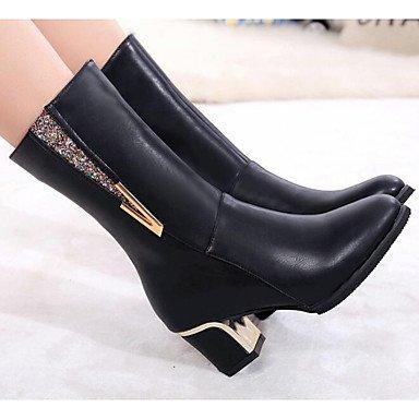 US7 Botas 5 CN38 5 De Casual RTRY Pu Botas Otoño Zapatos Mujer UK5 EU38 Borgoña De Moda Negro Invierno UOxOwYTfq