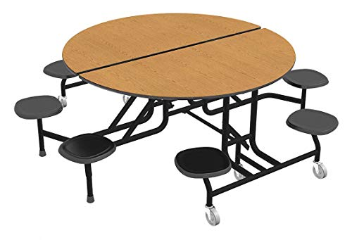 8-Seat Round Mobile Stool Table, Oak, 29' Height, Dia: 60'