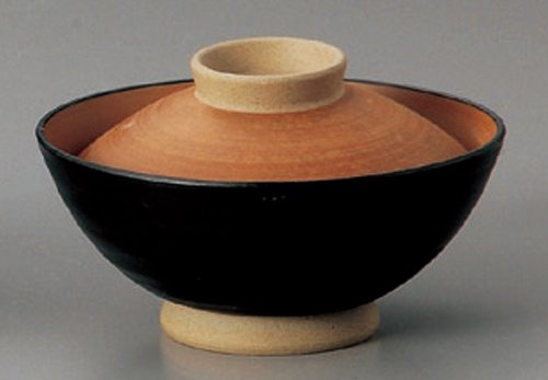 BLACK-GLAZE-RED Tohki Japanese Pottery Set of 5 Rice-bowls with Cover for TERIYAKI-BOWL by Watou.asia