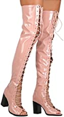 2dc3cf721608 CAPE ROBBIN Women Patent Leatherette Thigh High Peep Toe Lace Up ...