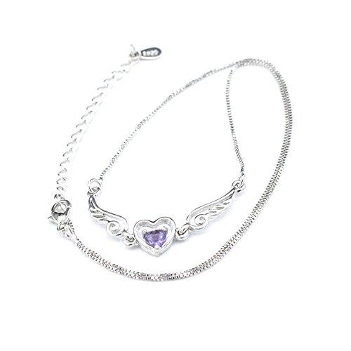 WaiiMak Women Necklaces Dream Angel Wings Love Peach Heart Pendant Long Chain Ornaments (Purple)