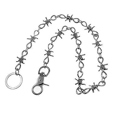 """Paddsun 26"""" Mens Motorcycle Biker Trucker Jean Key""""Barbed Wire"""" Wallet Chain, Silver"""