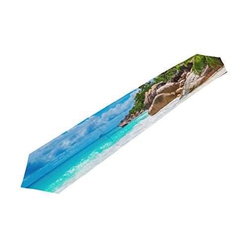 Sea Beach Ocean View Rectangle Table Runner, for Wedding, Party, Dinner, Summer & Picnic Country Outdoor Home Decor, 13 x 70 (Halloween Live Wallpaper Windows 7)