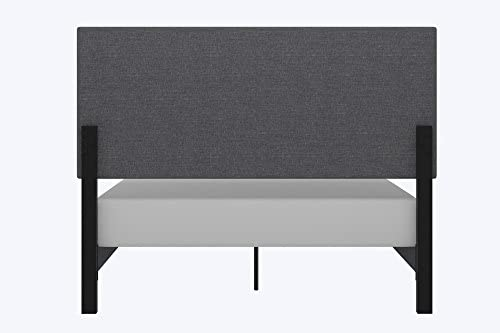 DHP Janford Upholstered Bed with Chic Design   Queen   Grey Linen