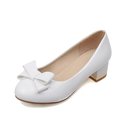 Solid WeiPoot On Pull Pumps White Women's Toe Patent Heels Low Closed Round Leather Shoes 5qTUrHgwqx