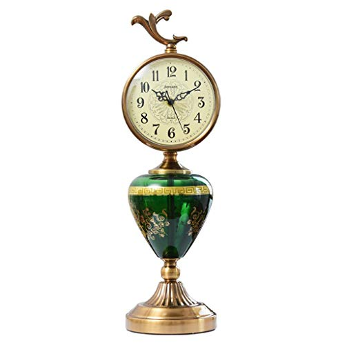 - LQUIDE Family Fireplace Clocks CER á European Style Metal mica Table Clock, Decoration ó n Retro Non-tick Living Room Clock Ornaments Suitable for Room D