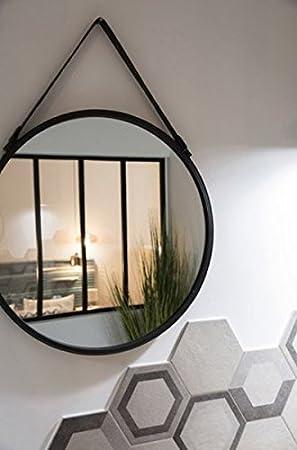 Miroir barbier rond 55 55cm Amazon Cuisine & Maison