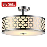 SOTTAE Luxurious Chrome Finish 2 Lights Glass Diffuser Living Room Bedroom Ceiling Light,Ceiling Lamp Fixture(Diameter:15.74″)