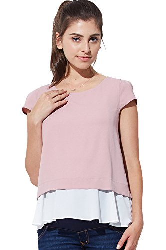 Maternity Nursing Breastfeeding Summer Beach Casual Layered Georgette Short Sleeve Top, Smoky Pink, L (US Size: 8-10) ()
