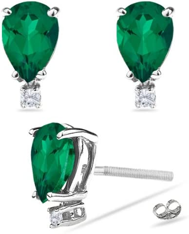 10x7mm Lab Created Pear Russian One Diamond Accented Emerald Stud Earrings in 14K White Gold Available in 5x3mm
