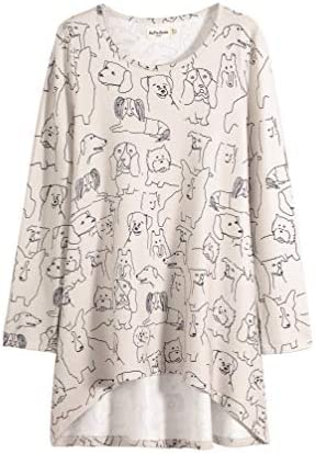 LaVieLente Women`s Graphic Print Long Sleeve Tunic Tops Soft Stretchy Hi-Lo Hem Loose Fitting for Leggings