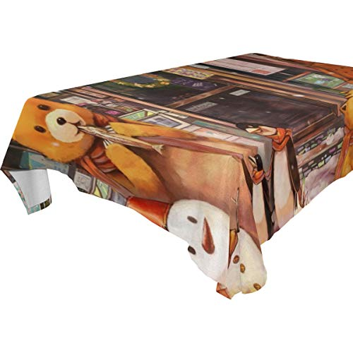 Table Cloth Toys Penguin Snowman Pig Doll Bear Rectangle/Oblong Polyester Tablecloth Washable Table Cover for Dinner Picnic, Buffet Table, Parties]()